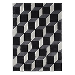 Debenhams - Black and grey wool 'Geometric' rug
