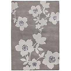 Betty Jackson.Black - Grey wool 'Floral Trail' rug