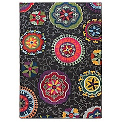 Debenhams - Multi-coloured dark patchwork 'Colores' rug