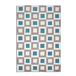 Debenhams - Blue and beige wool 'Cubed' rug
