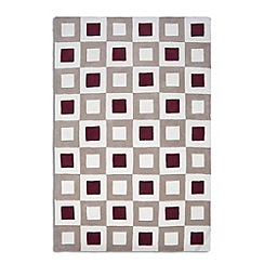 Debenhams - Red and beige wool 'Cubed' rug