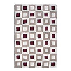 Debenhams - Red and beige wool 'Cubed' rug