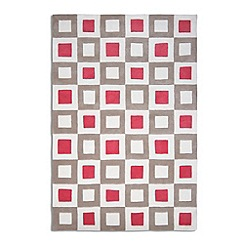 Debenhams - Pink and beige wool 'Cubed' rug