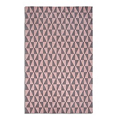 Debenhams - Pink and grey wool 'Geometric' rug