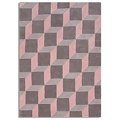 Debenhams - Pink wool 'Geometric' rug