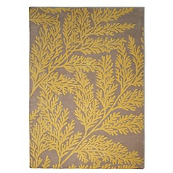 Debenhams - Yellow wool 'Leaf' rug