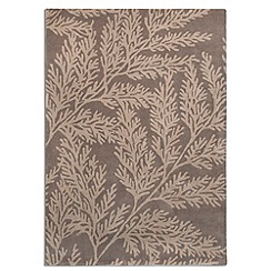Debenhams - Taupe wool 'Leaf' rug