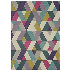 Debenhams - Blue wool 'Funk Chevron' rug