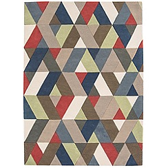 Debenhams - Multi-coloured wool 'Funk Chevron' rug