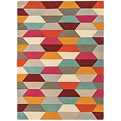 Debenhams - Red wool 'Funk Honeycomb' rug