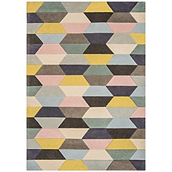 Debenhams - Blue wool 'Funk Honeycomb' rug
