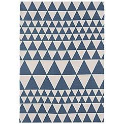 Ben de Lisi Home - Blue and white cotton 'Triangles' rug