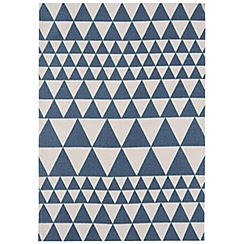 Ben de Lisi Home - Blue and white cotton 'Triangles' rug