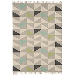 Debenhams - Green wool 'Geo Kelim' rug