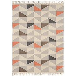 Debenhams - Orange wool 'Geo Kelim' rug