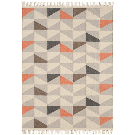 Debenhams - Orange wool +Geo Kelim+ rug