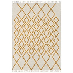 Debenhams - Yellow woollen 'Diamond Kelim' rug