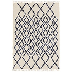 Debenhams - Blue woollen 'Diamond Kelim' rug