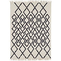 Debenhams - Black woollen 'Diamond Kelim' rug