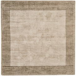 Debenhams - Beige square 'Blade Border' rug