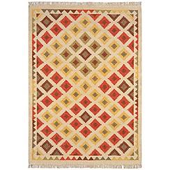 Debenhams - Woollen 'Traditional Diamond Kelim' rug