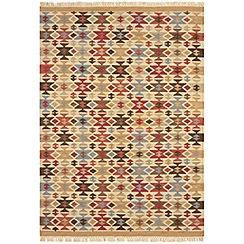 Debenhams - Wool 'Traditional Geo Kelim' rug