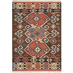 Debenhams - Woollen 'Traditional Aztec Kelim' rug