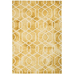 Debenhams - Yellow wool 'Fresco Trellis' rug