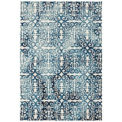 Debenhams - Blue wool 'Fresco Lattice' rug