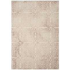 Debenhams - Beige wool 'Fresco Lattice' rug