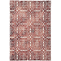 Debenhams - Red wool 'Fresco Lattice' rug