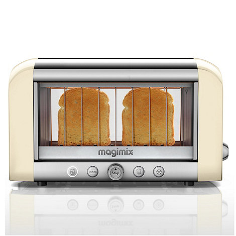 Magimix - 2 slice cream and silver Glass +Vision 11527+ professional toaster