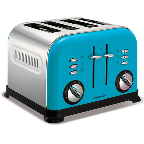 Morphy Richards - Cyan blue accents four slice toaster 44799