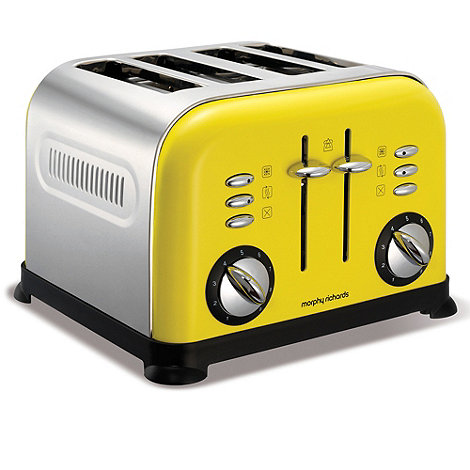 Morphy Richards - Yellow accents four slice toaster 44797