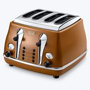 Delonghi CTOV4003.BW brown Vintage Icona 4 slice toaster