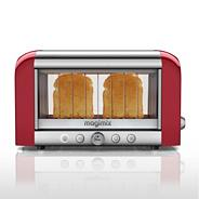 Magimix 2 slice red and silver Glass 'Vision 11528' two slice toaster