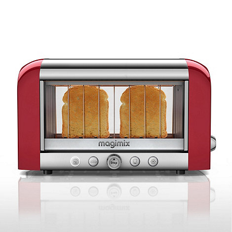 Magimix - 2 slice red and silver Glass +Vision 11528+ two slice toaster