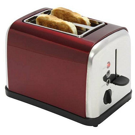 Debenhams - Red +TT4RED2+ red two slice toaster