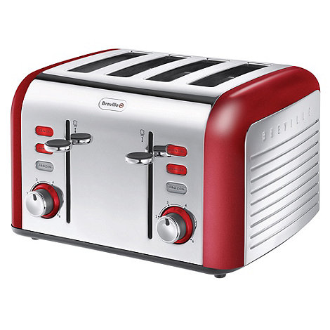 Breville - Red +Opula+ four slice toaster VTT332
