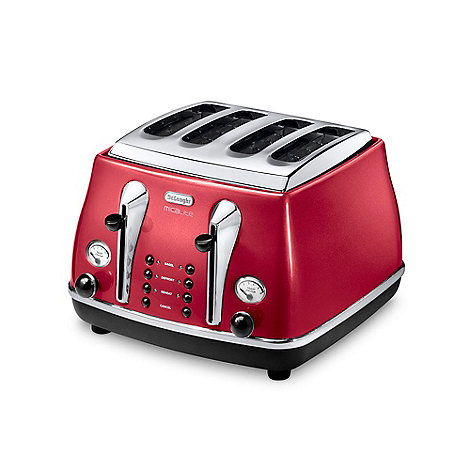 DeLonghi - Red CTOM4003.R four-slice Micalite toaster