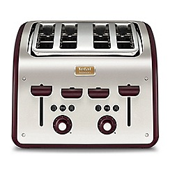 Tefal - Maison pomegranate red & stainless steel 4 Slice toaster TT7705UK