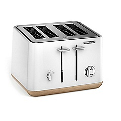 Morphy Richards - White with Wood Trim 'Aspect' 4 slice toaster 240005