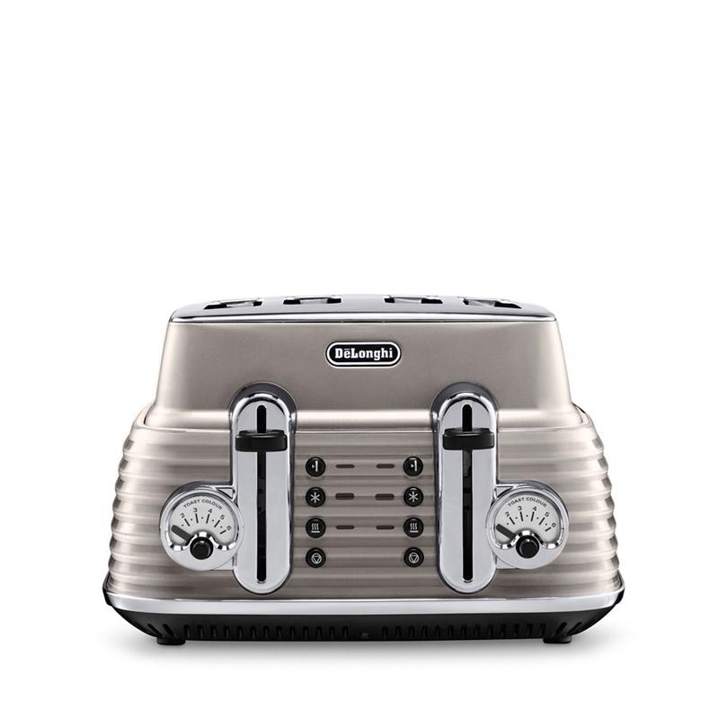 DeLonghi Gold gloss finish Scultura 4 slice toaster CTZ4003.BG, Light Gold
