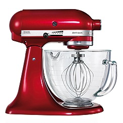 KitchenAid - 'Artisan' Candy Apple 4.8L Stand Mixer with Glass Bowl
