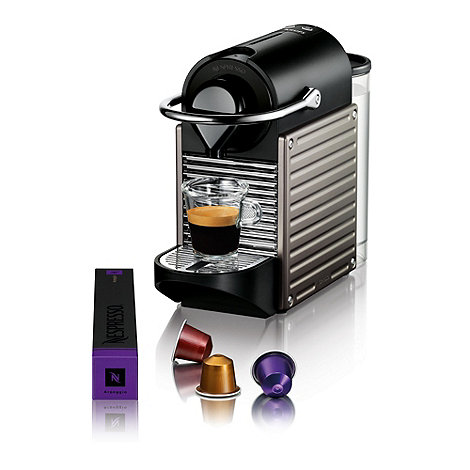 Nespresso - Titanium +Pixie+ coffee machine by Krups XN300540