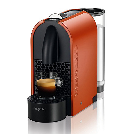 Magimix - Pure orange Nespresso +U+ coffee machine with Aeroccino3 11343