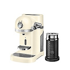 KitchenAid - Nespresso almond cream artisan coffee machine and aeroccino 3 5kes0504bac