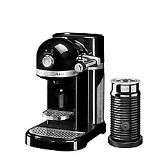 KitchenAid - Nespresso onyx black artisan coffee machine and aeroccino 3 5kes0504bob