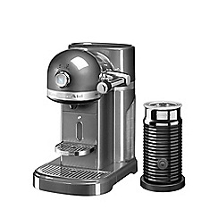 KitchenAid - Nespresso medallion silver artisan coffee machine and aeroccino 3 5kes0504bms