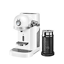KitchenAid - Nespresso frosted pearl artisan coffee machine and aeroccino 3 5kes0504bfp